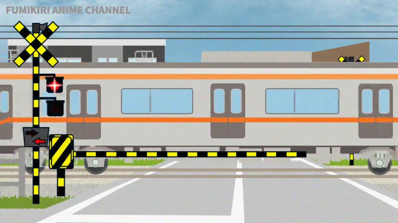 京成鉄道、成田への鉄橋と踏切通過 電車のアニメ