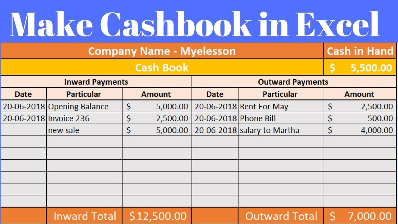 Cashbook In Excel Youtube