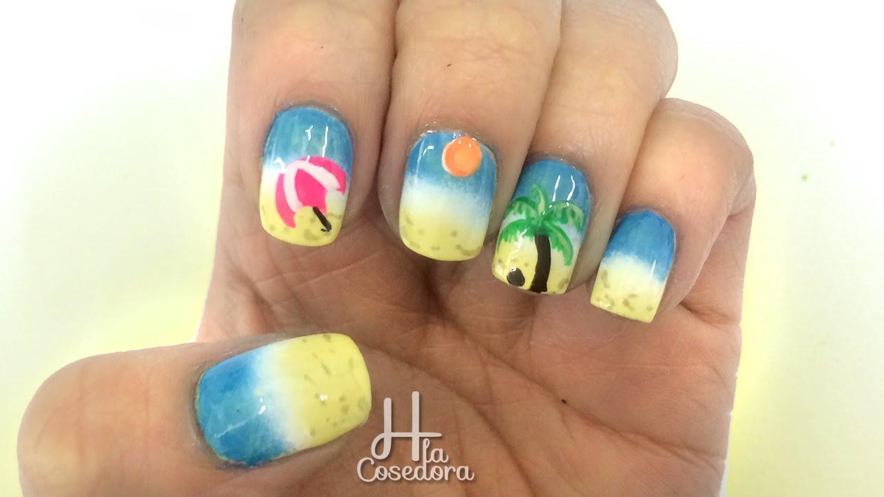 Decoracion De Uñas Playa Beach Nail Art Youtube