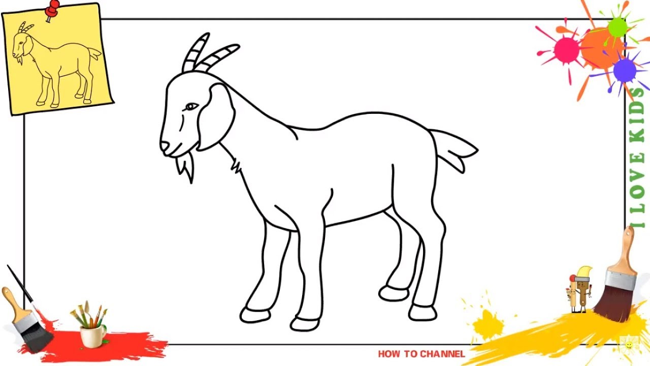 how to draw a goat 3 easy step by step for kids beginners children [ 1280 x 720 Pixel ]