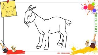 How to draw a goat 3 EASY step by step for kids, beginners, children