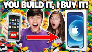 IF YOU BUILD IT, I WILL BUY IT LEGO CHALLENGE!!! I Got a NEW iPhone 12 & McDonald's Big Mac!