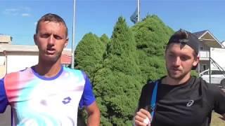 Filip Polášek a Patrik Rikl po vítězství v 1. kole deblu Rieter Open Ústí nad Orlicí 2018