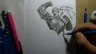 Pencil Drawing - Muay Thai Lee Sin