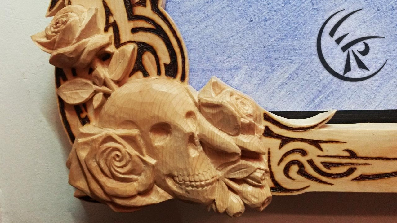Woodcarving quot skull on picture frame timelapse youtube