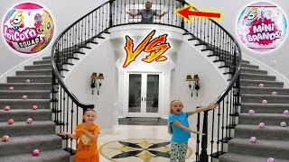 Stairs Pick Our Toys! 5 Surprise Unicorn Squad vs Mini Brands!