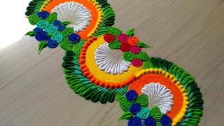 Beautiful BORDER rangoli designs with colours/flowers border rangoli