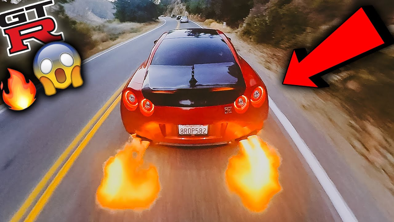 CRAZY R35 GTR SPITS HUGE FLAMES ON CANYON RUN DRIVE!!!