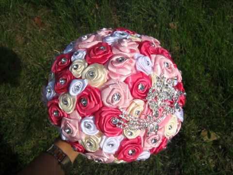 buchet mireasa trandafiri cu strasuri