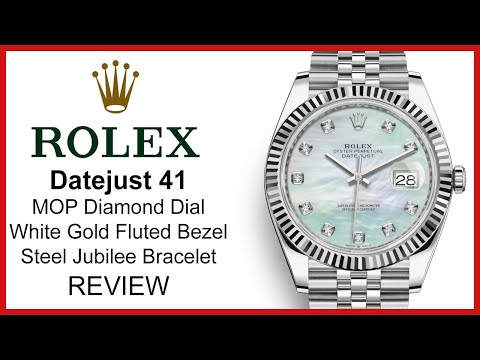 ▶ Rolex Datejust 41, MOP Diamond DIal, White Gold Fluted Bezel, Steel Jubilee- REVIEW 126334