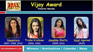 Vijay Awards - Favorite Heroine (2006 - 2013)