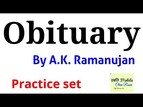 Obituary by Ak Ramanujan Lt grade poem Questions Answer