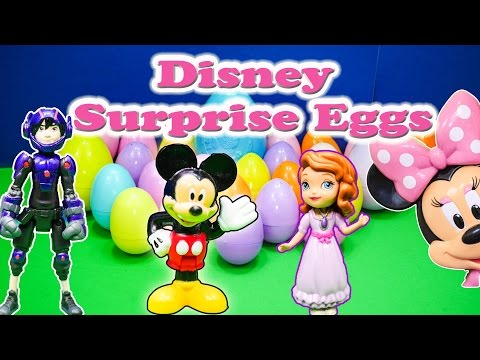 SURPRISE EGG Disney Surprise Eggs with Big Hero, Mickey Mouse, Doc McStuffins Toys Video