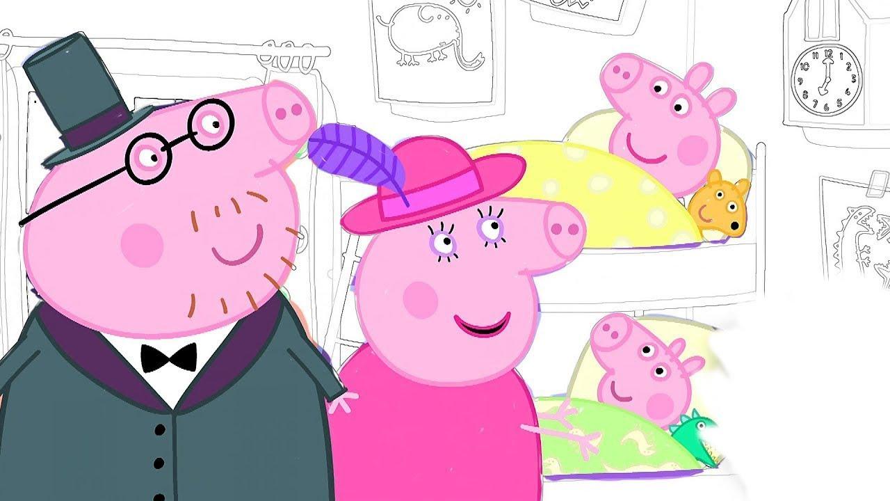 Раскрашиваем Свинка Пеппа и Джордж без Родителей Волшебная ...