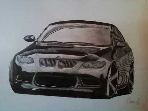 Как нарисовать машину BMW M3 / How To Draw A Car With A Pencil
