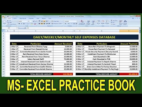 Exercise 41 Excel Practice Book How To Make Monthly Expenses
