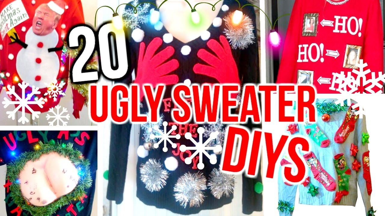 4076bdf831d2 20 DIY Ugly Christmas Sweater Costume Ideas! Cheap   Easy! - YouTube