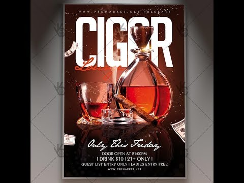 Cigar Lounge - Club Flyer PSD Template