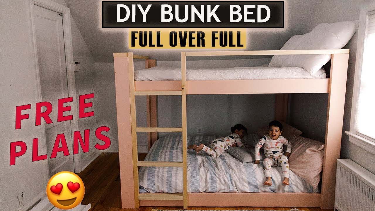 Diy Full Over Full Bunk Bed With Free Plans How To Make Bunk Bed At Home Easy If Only April Youtube