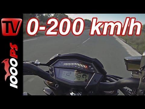 0-200km/h | Kawasaki Z1000-2014 | Beschleunigungsvideo