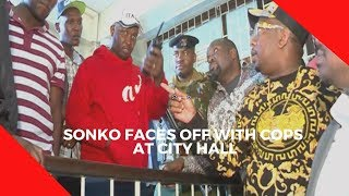 Sonko faces off with cops at City Hall