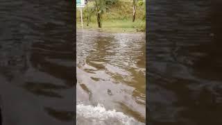 Dimanche 27 janvier 2019, route inondée à la Réunion suite au fortes pluies