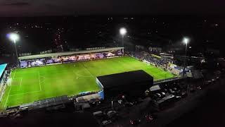 Macclesfield town Vs Tranmere rovers end of Game flying around the Stadium.