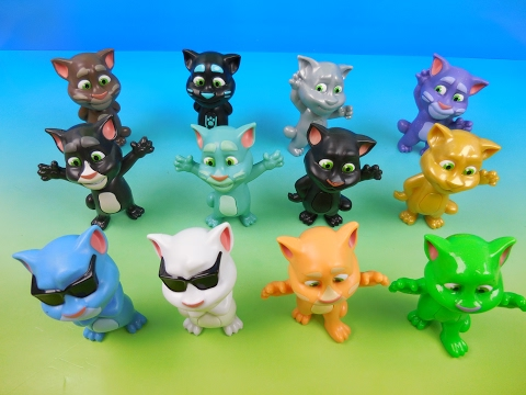 TALKING TOM SET OF 12 McDONALDS 2016 HAPPY MEAL KIDS TOYS VIDEO REVIEW