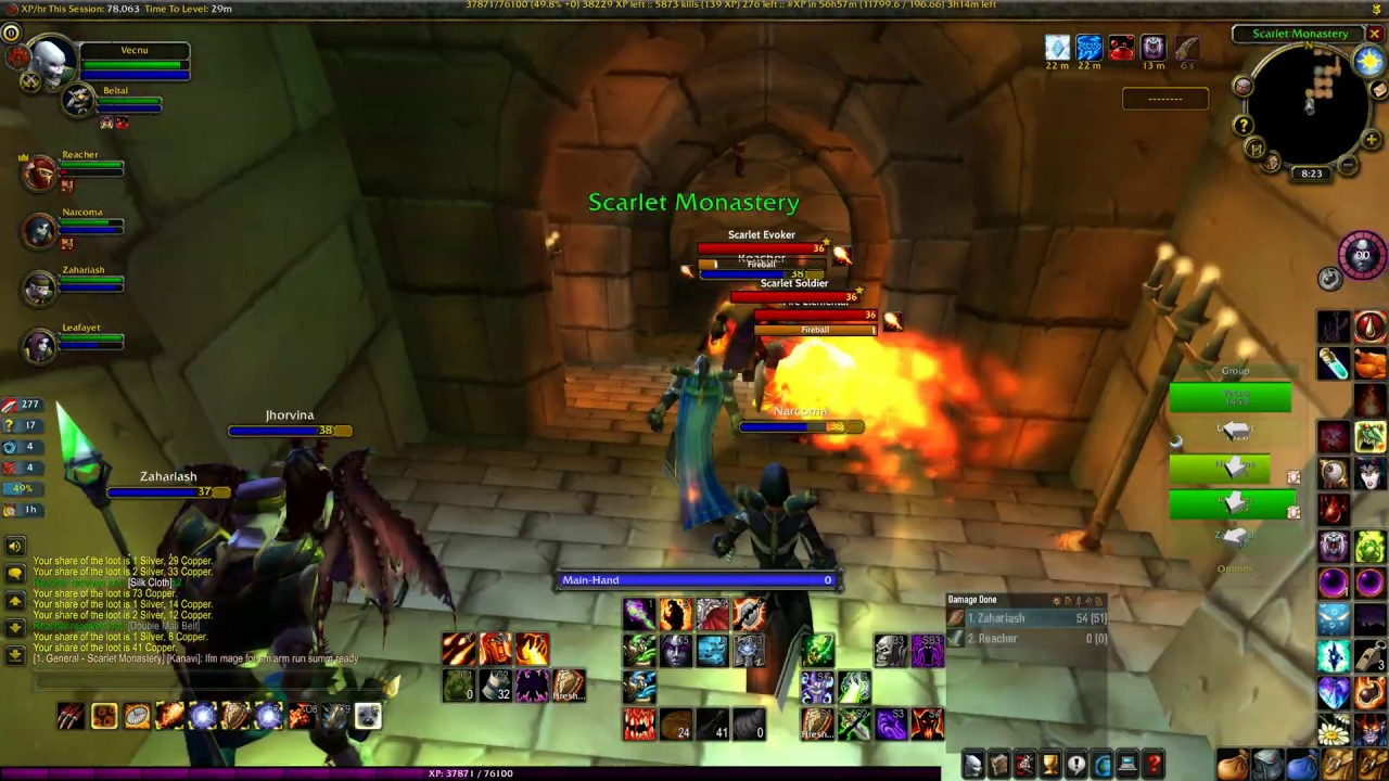 WoW Classic spell cleave 60k exp per hour sustained