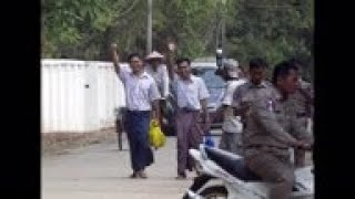 Stills of Reuters journalists released in Myanmar