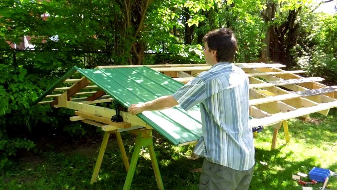 Modular Shed Part 2 Sheet Metal Roofing Youtube