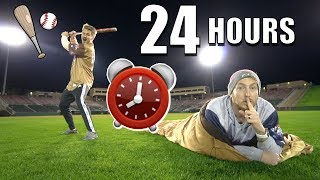 24 HOUR OVERNIGHT CHALLENGE IN BASEBALL STADIUM (PART 2)!