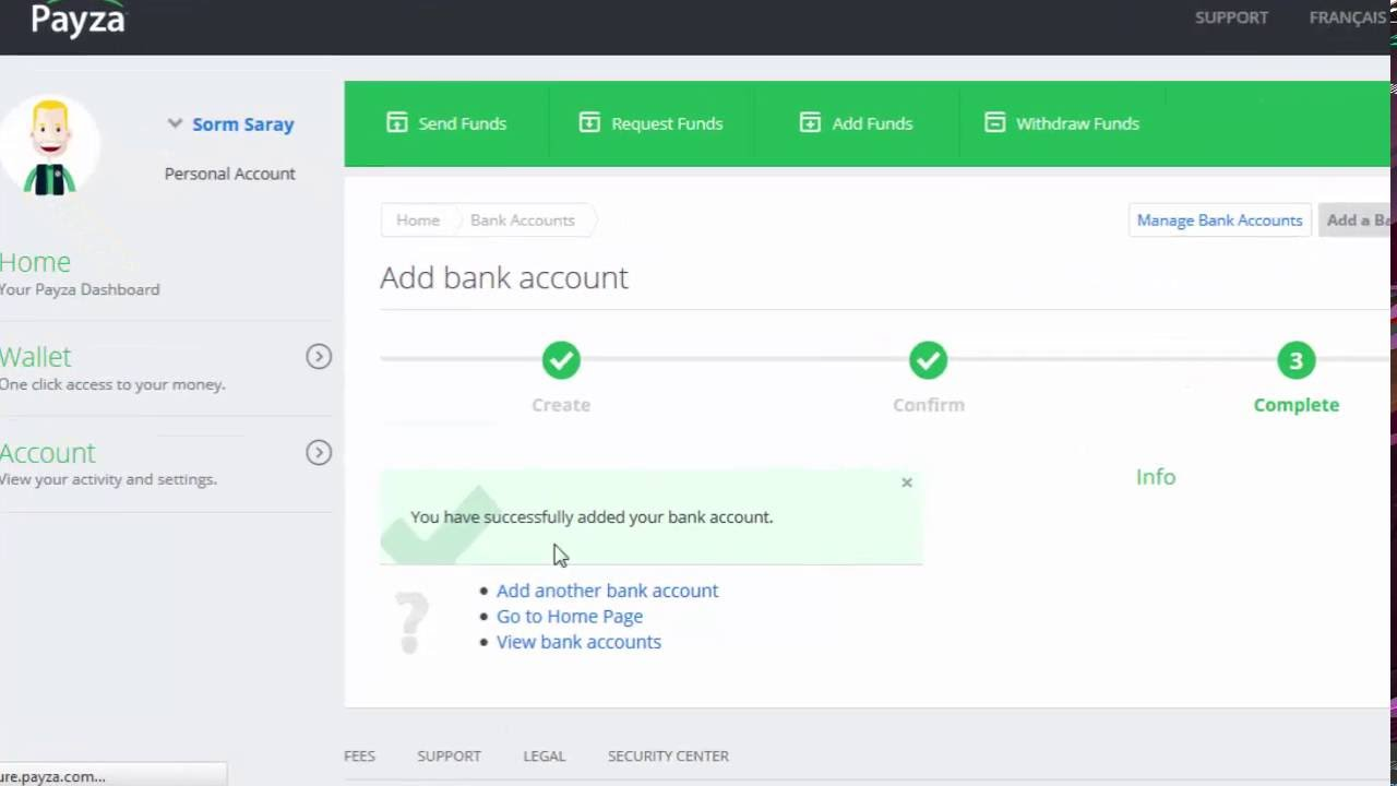 How to add bank Payza Account