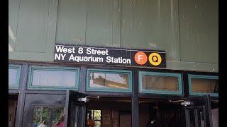 MTA NYC Subway: Coney Is & Manhattan Bound R46 & R160 (F) (Q) Trains @ West 8th Street-NY Aquarium