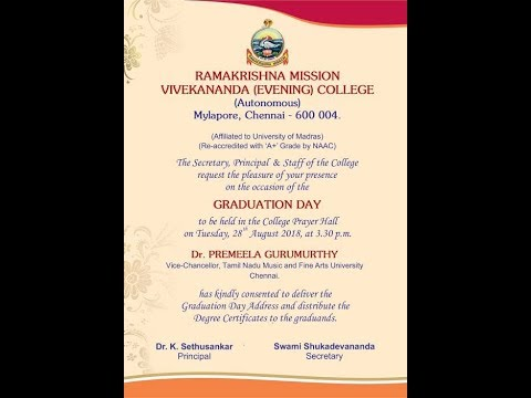 Graduation Day For RKM Vivekananda (Evening) College.  2014-17 Batch