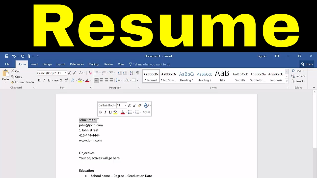 How To Create A Resume In Microsoft Word Tutorial Youtube