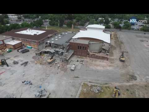 Aerial drone video of the Granite High School demolition