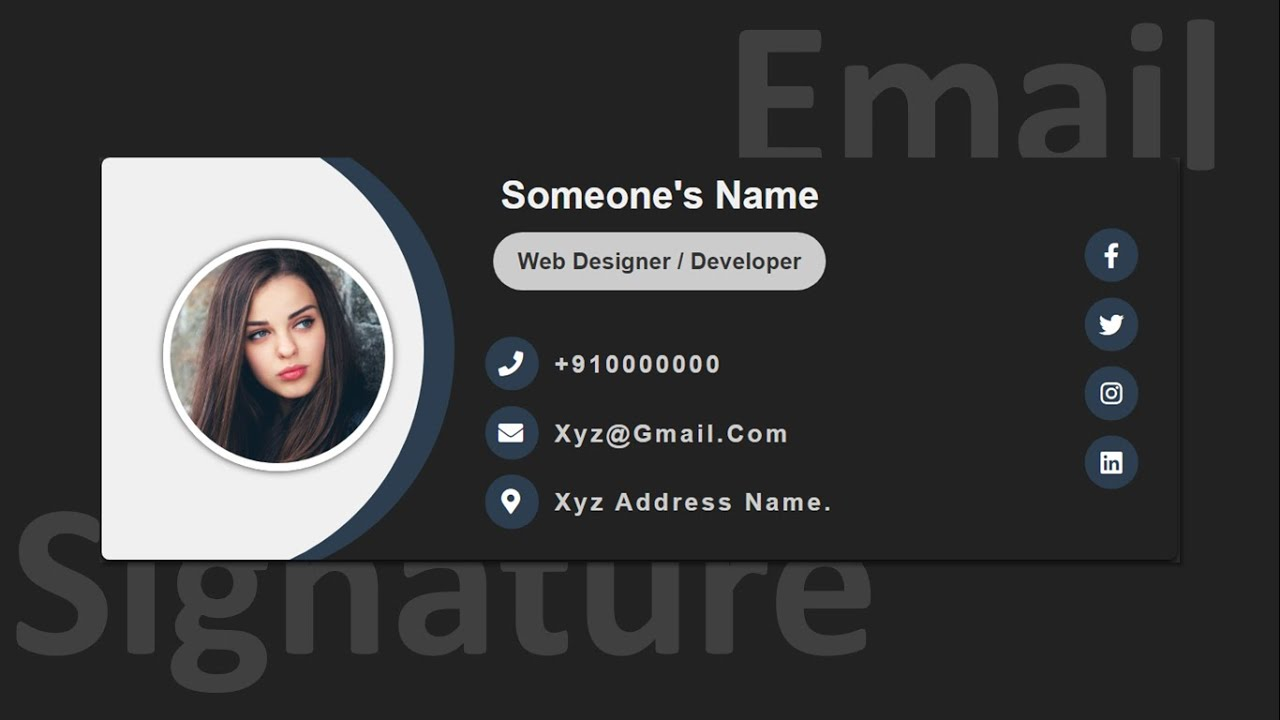 Create A Responsive E-Mail Signature Design Using Pure HTML & CSS Only