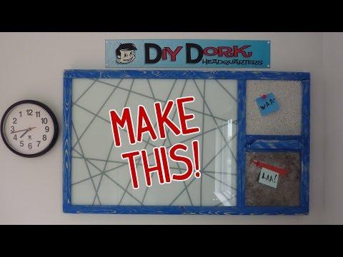 DIY Glass Dry Erase Board Message Center (w/ Cork & Magnet Boards!)