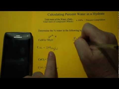 Percent Water In A Hydrated Compound