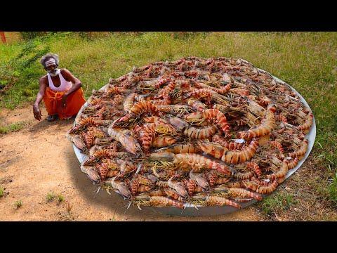 TIGER PRAWN!!! BIG Prawn BBQ Prepared by my Daddy Arumugam / Village food factory