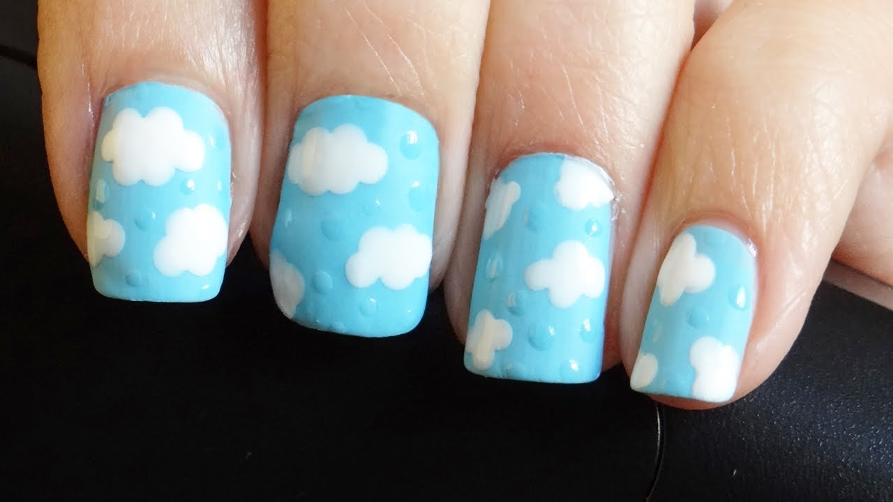 Uñas Estilo Nubes Y Gotas De Lluvia Youtube