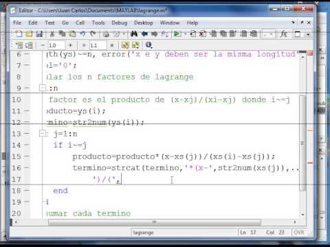 Metodo de Interpolacion de Lagrange Matlab