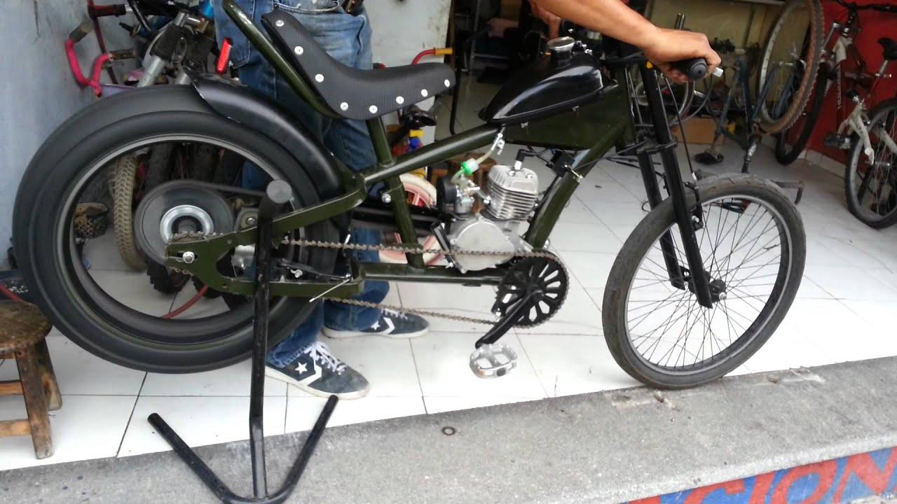 BICICLETA CHOPPER CON MOTOR 80 cc (2) - YouTube