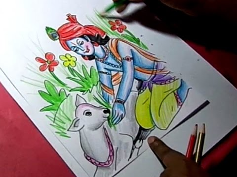 How Ro Draw Lord Krishna Giving Food To Cow Color Drawing Youtube