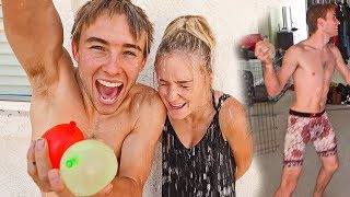 WATER BALLOON PRANK ON GIRLFRIEND! *INSIDE OUR HOUSE*