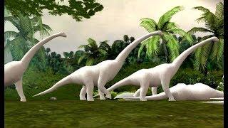 Dinosaurier-Jagd-Spiel | weiße Dinosaurier | Cartoon AC