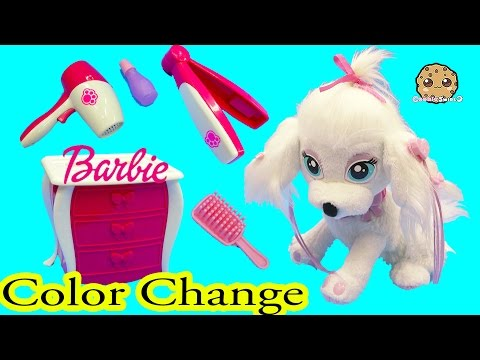 Color Change Puppy Dog Nail, Hair, Makeup Fail Barbie Pampered Pups Salon - Cookieswirlc
