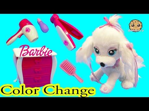 Color Change Puppy Dog Nail, Hair, Makeup Fail Barbie Pampered Pups Salon - Cookieswirlc