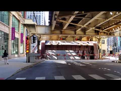 Raising of bridge over the Chicago river